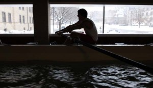 An athlete trains in the UW-Madison Porter Boathouse, as seen Feb. 26, 2007. ©UW-Madison University Communications 608/262-0067 Photo by: Aaron Mayes Date: 02/07 File#: D200 digital camera frame 6467