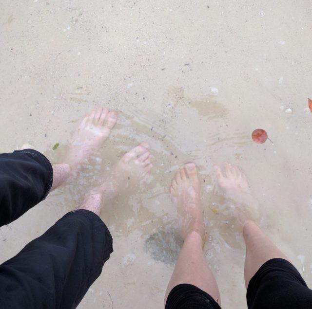 Feet in a bay