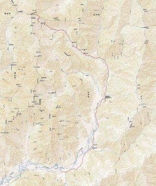 【槍ヶ岳への道】スゲー細かいですがこの地図の南北縦断20キロのルート