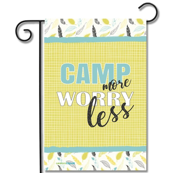 RV Camping Yard Flag Camp More Worry Less