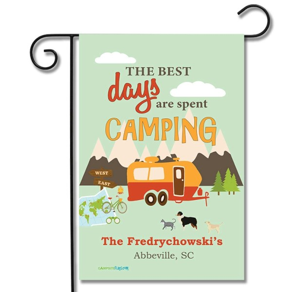 Personalized RV Pet Flag The Best Days Are Spent Camping Travel Trailer