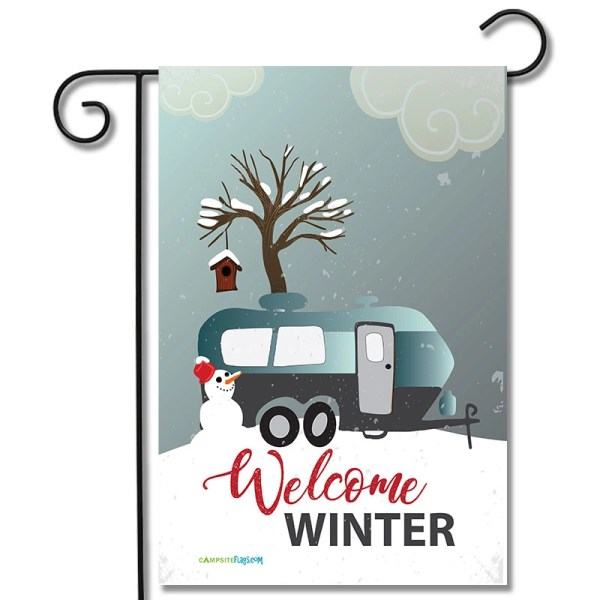 RV Campsite Flag Welcome Winter Travel Trailer