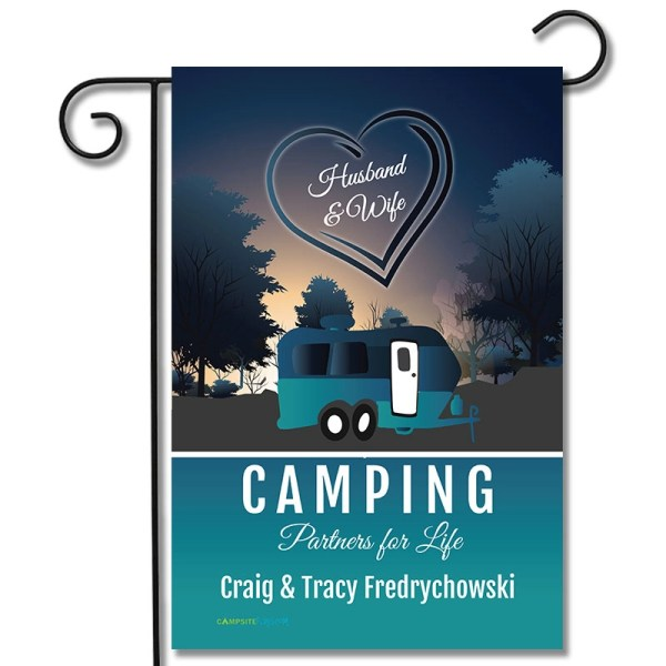 Personalized RV Camping Flag Husband and Wife Camping Partners For Life Travel Trailer
