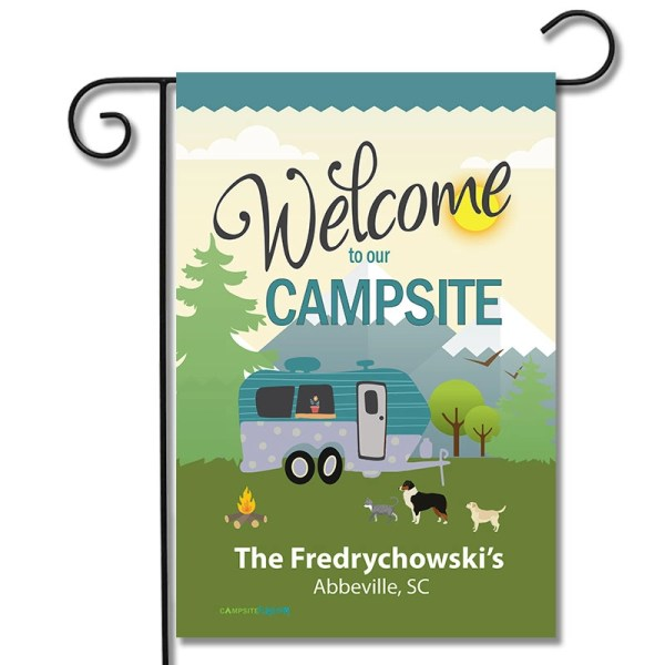 Personalized RV Pet Flag Welcome To Our Campsite Travel Trailer
