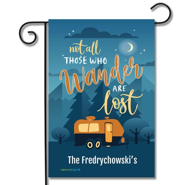 Personalized RV Garden Flag Not All Those Who Wander Are Lost Travel Trailer