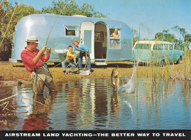 vintage Airstream camper postcard print with family fishing on a lake