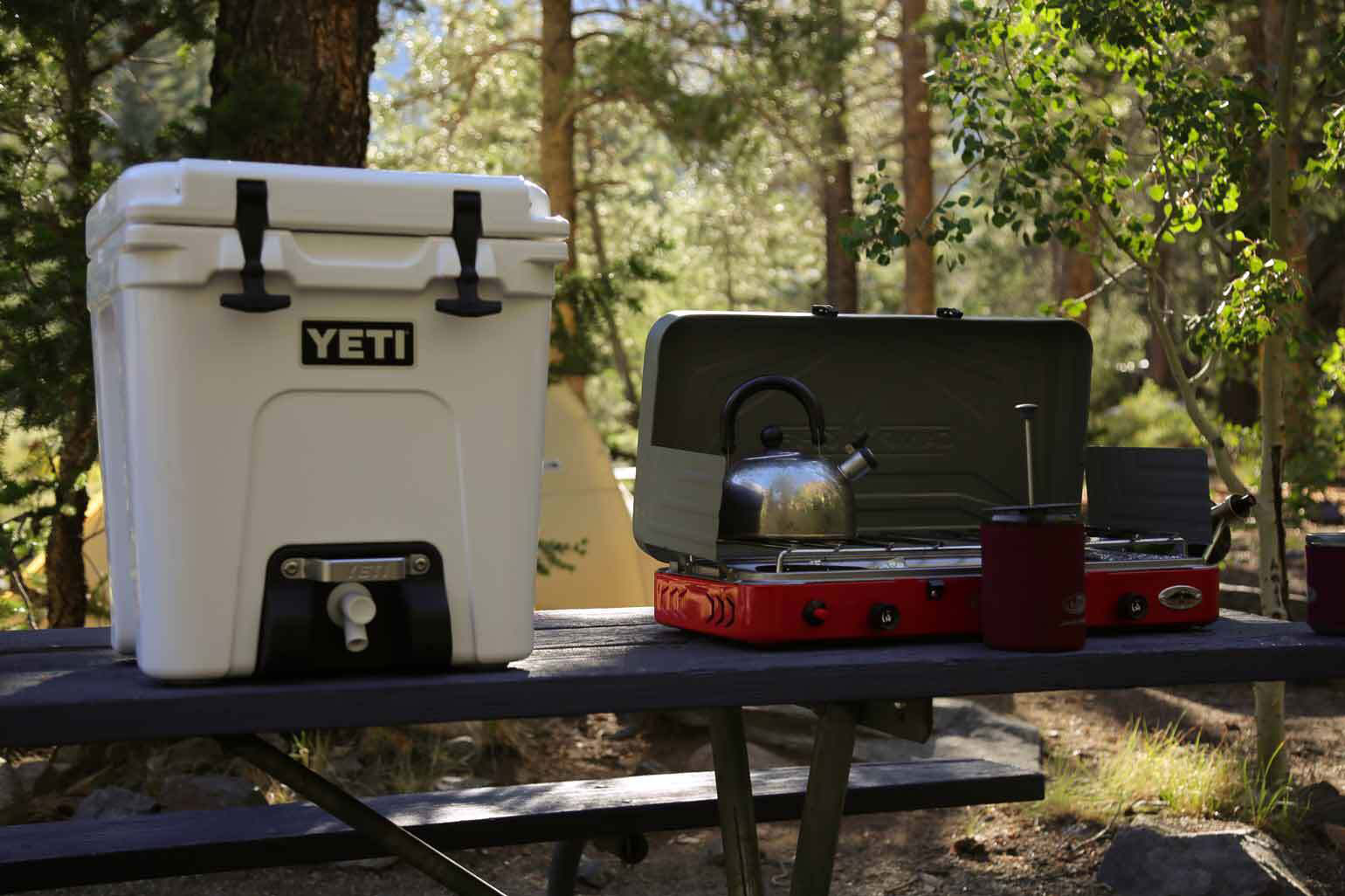 picnic table in the woods with yeti cooler, campfire stove, and camping equipment