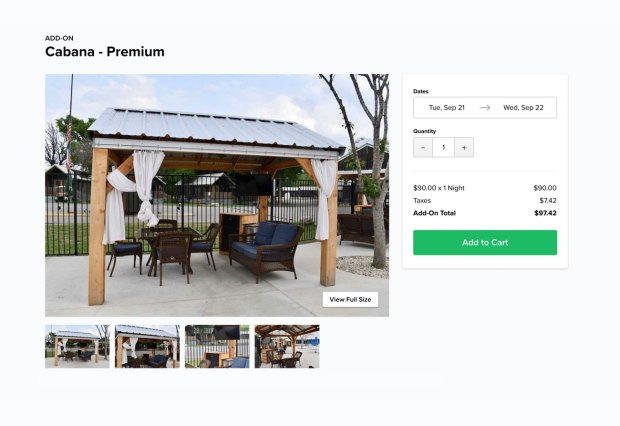 cabana pool pavilion with curtains and chairs on website page