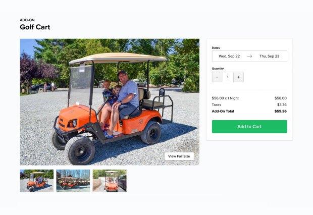orange golf cart rental on webpage