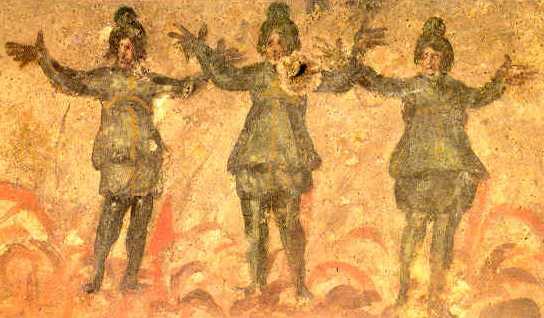 Los tres orantes en el horno. Roma. Catacumba de Priscila. Cubiculo dela Velatio