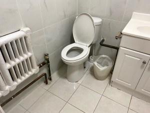 A bathroom with a toilet