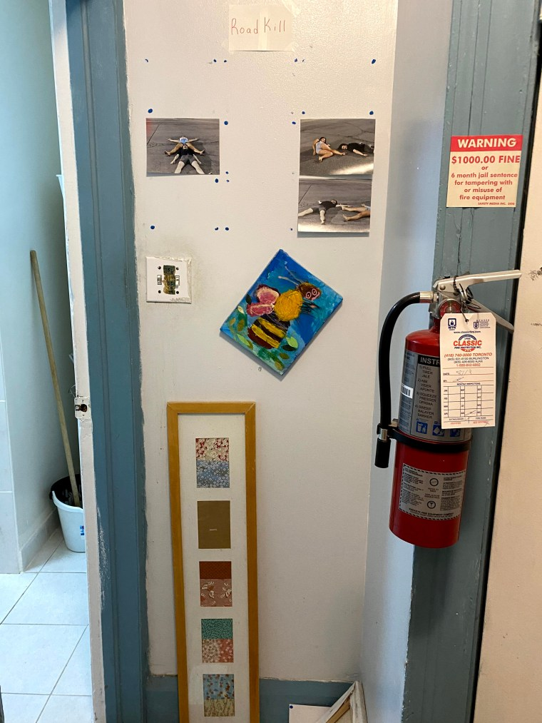 A hallway with three pieces of art hung on the wall beside a fire extinguisher