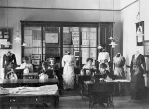 Women's sewing class, 1909. Courtesy MSU Archives