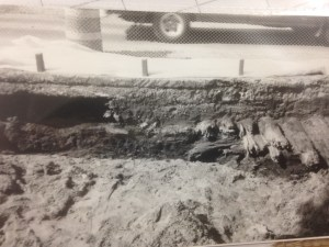 Excavation of Old Corduroy Road discovered in 1995. Courtesy CCRG