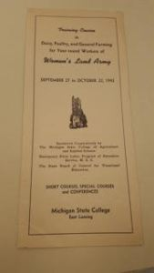 MSU Women's Land Army training course brochure. Courtesy of MSU Archives.
