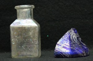 Ink bottle/well found in the privy. Left: Cox's Carmine Ink, Right: Cobalt Conical Inkwell