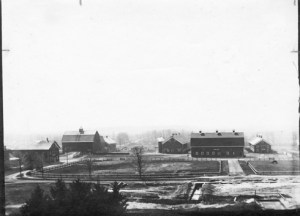 View of farm area and barns taken from atop the Dairy Building - Image courtesy of MSU Archives & Historical Collections