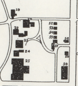 Showing Detention Hospitals (52-55) and the Horticulture Barn (57) - Images Source: MSU Map Library