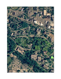 An aerial photograph of MSU's Campus. Every dot represents a excavation unit or test pit CAP has dug during archaeological surveys. This image does not show all of the excavations completed.
