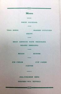 1926 banquet menu