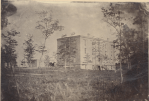 College Hall & Boarding Hall (Saint's Rest) 1857. Image courtesy of MSU Archives & Historical Collections