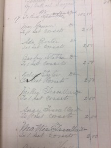Page of Saint's Rest Account Book showing corset purchases. Image courtesy of MSU Archives & Historical Collections