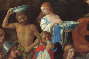 Section of The Feast of the Gods (1514) by Italian artists Bellini and Titian showing mythic individuals using imported Chinese porcelain. Image Source