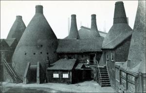 Original bottle kilns at Wedgwood Etruria workshop in England circa 1952