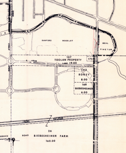 Closeup from Michigan State University Land Acquisition map c. 1966. Source: MSU
