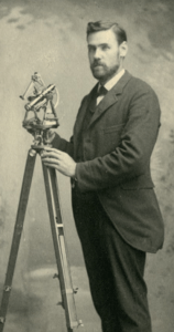 Professor Rolla C Carpenter (c. 1885 pictured with his surveying equipment) was instrumental in bringing about the boarding clubs at the College.