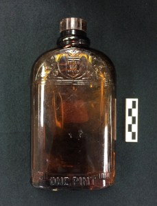 Hiram Walker bottle recovered from the Brody/Emmons complex, site of East Lansings first dump.