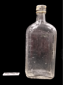 Photo of the Fleischmann's Dry Gin bottle from the Brody/Emmons excavations, dating to 1935