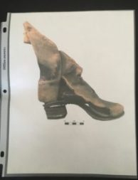 Image of a shoe recovered from an excavated burial. Image from the excavation report.