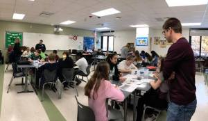 Students work in groups to answer questions about artifacts
