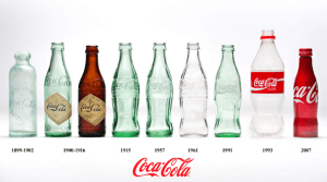 Coke bottles through the years
