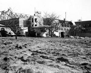Construction of Mason Hall, marking the beginning of the end of the boarding clubs. Courtesy of MSU Archives & Historical Collections. Image Source.