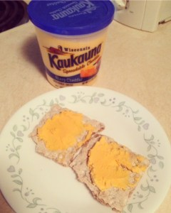Kaukauna cheese spread on crackers still makes a tasty snack (and yes, I did use this blog as an excuse to eat cheese)