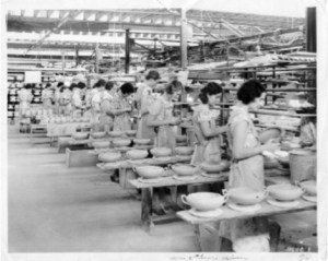 Workers at the Mount Clemens Pottery Co. producing casserole dishes, 1924. Image source: