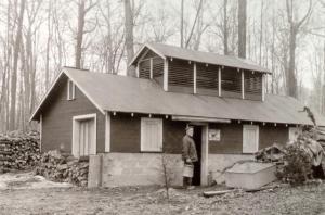 Photo of MSU Forestry Department sugar house, taken around 1934.