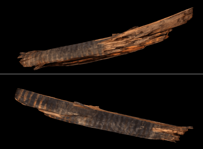 Different views of a 3D model of the Wyckoff wooden water pipe found during Faculty Row excavations.