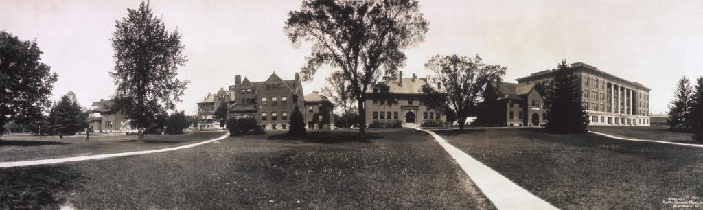 Laboratory Row, dated to 1912. From left: Horticulture, Bacteriology, Botany, Dairy, Entomology, and Agriculture (Veterinary is out of view to the right). Image courtesy of the Library of Congress.