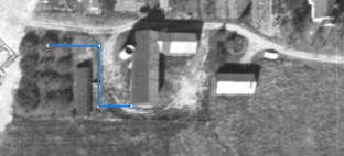 Screenshot of historical aerial photography overlain with measurement tool, depicting process laid out in step 3.