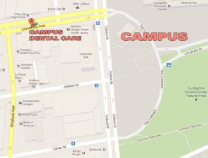 decorative - a berkeley map where campus dental care office on university avenue and the crescent on oxford is marked.