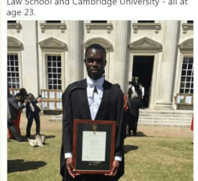 Onoriode Aziza Has 3 First Class In Law From OAU, Law School & Cambridge