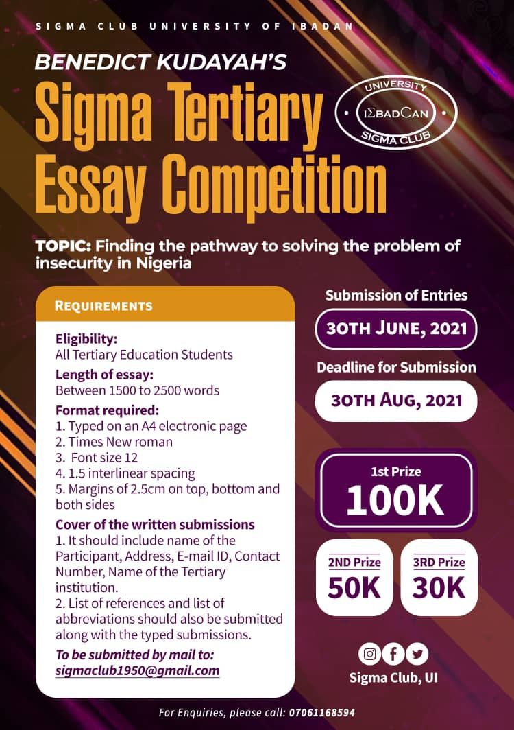 SIGMA LAUNCHES 2021 TERTIARY ESSAY COMPETITION, WINNER TO GET 100K!