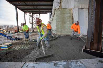 December 2018: Workers pour the floor of the Kemper Art Museum addition.