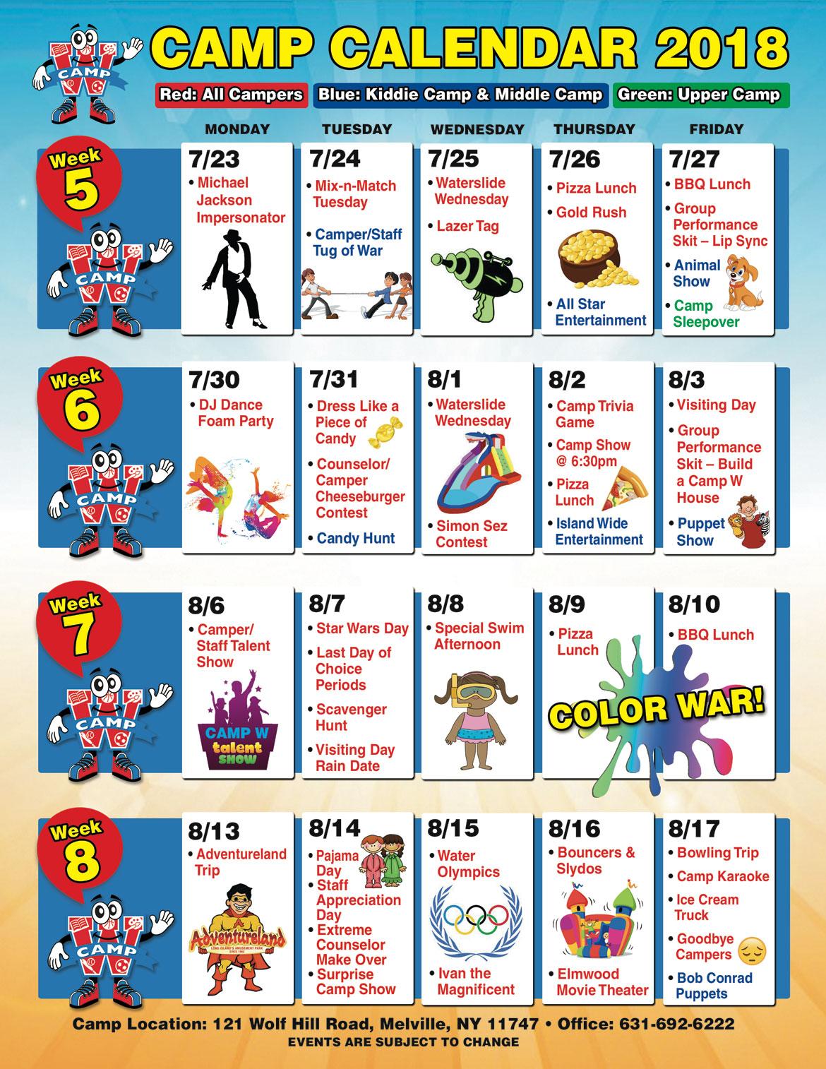 Camp W Calendar Back