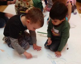 Collaborative drawing in the gallery