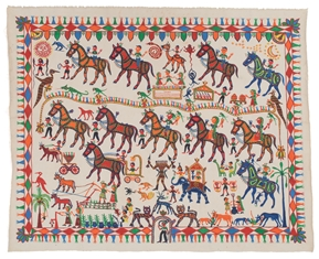 Pithora painting, by Mansingh Rathwa. Chottaudeipur, Gujarat, 2015. Museum of Archaeology & Anthropology 2016.212. Purchased with support from Art Fund