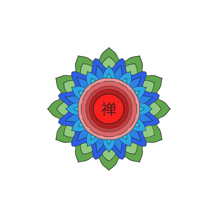 Chan Symbol Three Colour Flower